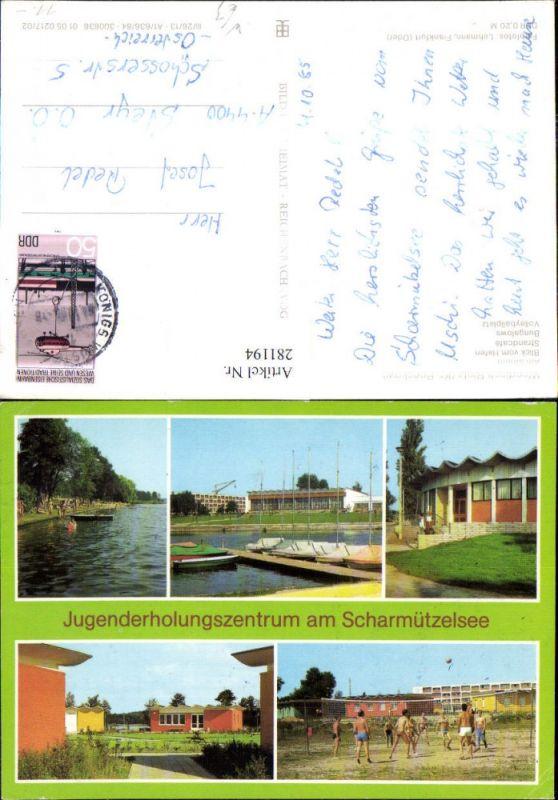 281194,Wendisch Rietz Jugenderholungszentrum am Scharmützelsee Strand Bungalows Volleyball Mehrbildkarte