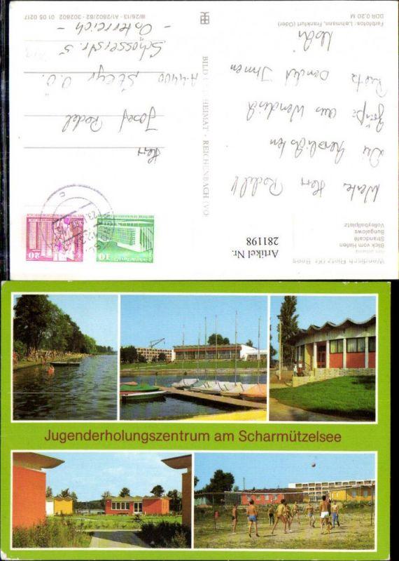 281198,Wendisch Rietz Jugenderholungszentrum am Scharmützelsee Strand Bungalows Volleyball Mehrbildkarte
