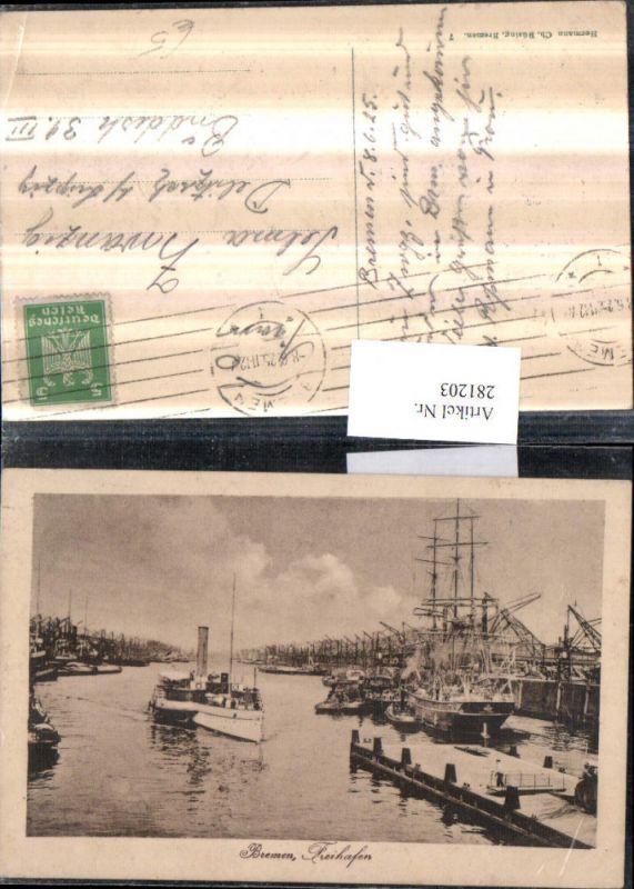 281203,Bremen Freihafen Hafen Segelschiff Schiff Dampfer 0