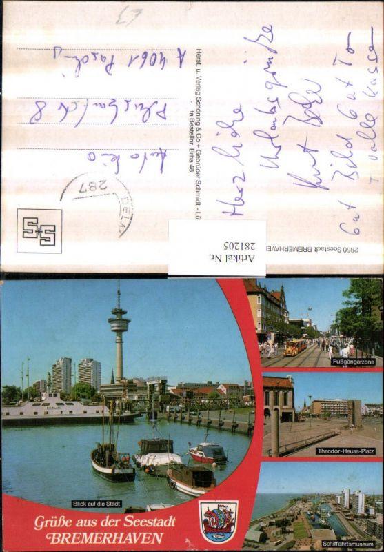 281205,Bremerhaven Teilansicht Fernsehturm Schiff Berlin Schifffahrtsmuseum Fußgängerzone Platz Mehrbildkarte 0