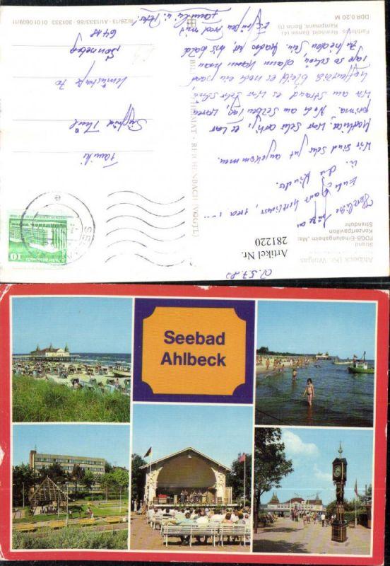 281220,Seebad Ahlbeck Strand m. Seebrücke Konzertpavillon Stranduhr FDGB-Erholungsheim Mehrbildkarte 0