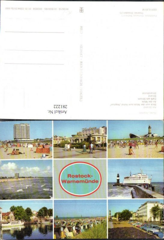 281222,Rostock Warnemünde Hotel Neptun Kurhaus Strand Cafe am Strom Strandleben Schiff Mehrbildkarte