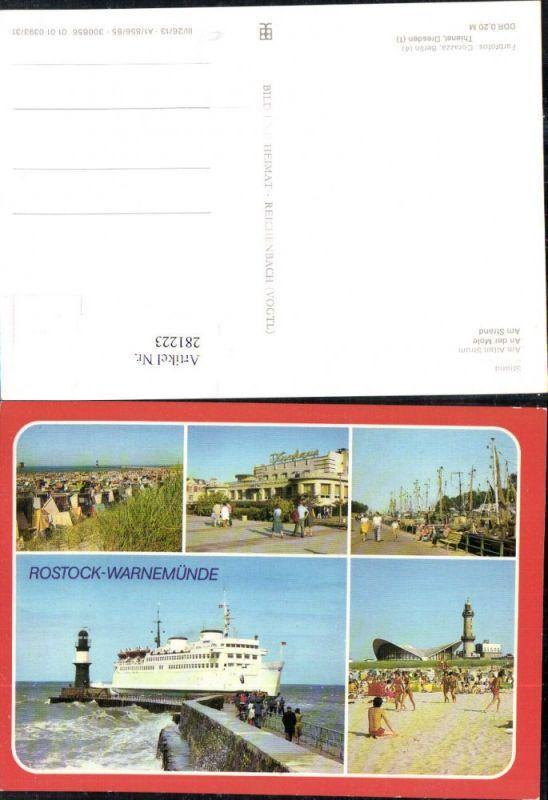 281223,Rostock Warnemünde Strand Kurhaus Dampfer Schiff Leuchtturm Strandleben Mehrbildkarte 0