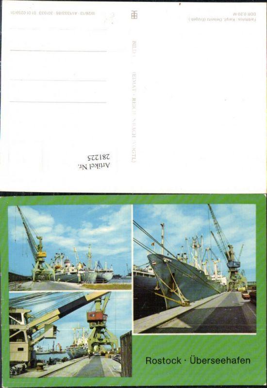 281225,Rostock Überseehafen Hafen Dampfer Schiffe Mehrbildkarte 0