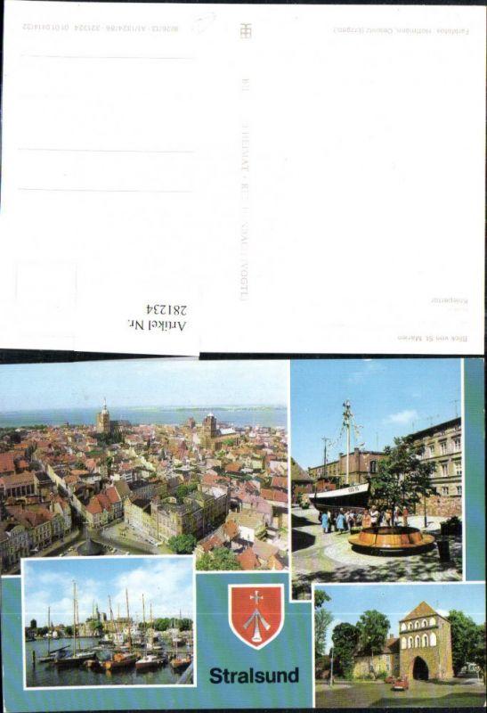 281234,Stralsund Totale Hafen Kniepertor 17-m-Kutter am Meeresmuseum Mehrbildkarte 0