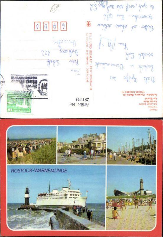 281235,Rostock Warnemünde Dampfer Schiff Strand Kurhaus Strandleben Mehrbildkarte