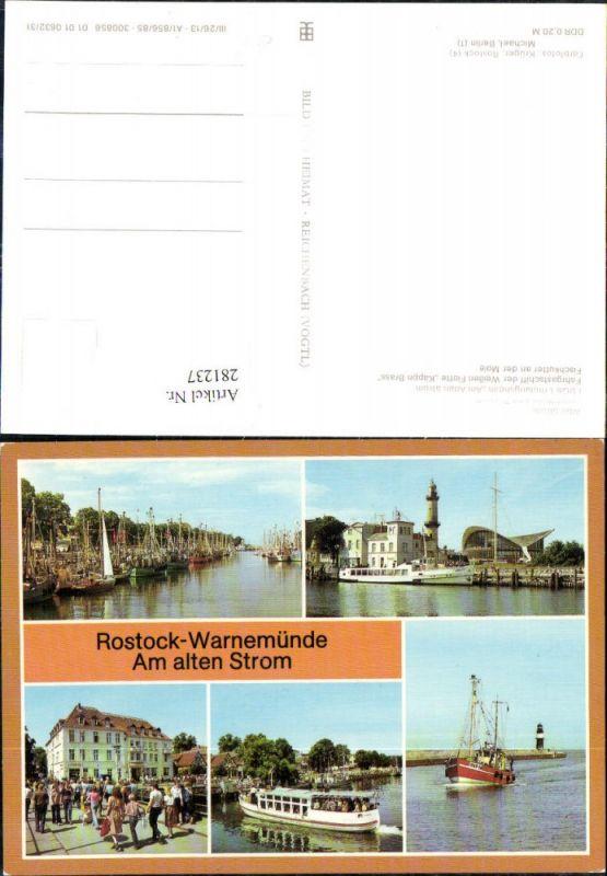 281237,Rostock Warnemünde Leuchtturm Teepott FDGB-Erholungsheim Fahrgastschiff Fischkutter Mehrbildkarte 0