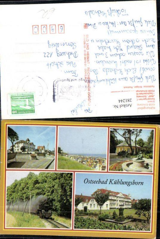 281244,Ostseebad Kühlungsborn Strand FDGB-Erholungsheim Konzertgarten Schmalspurbahn Mehrbildkarte 0