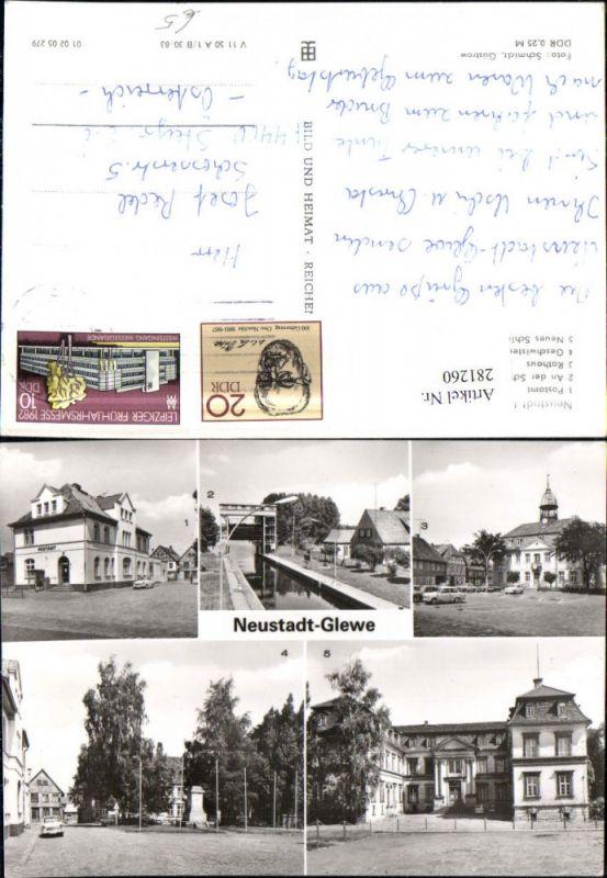 281260,Neustadt Glewe Postamt Schleuse Rathaus Schloss Geschwister-Scholl-Platz Mehrbildkarte 0