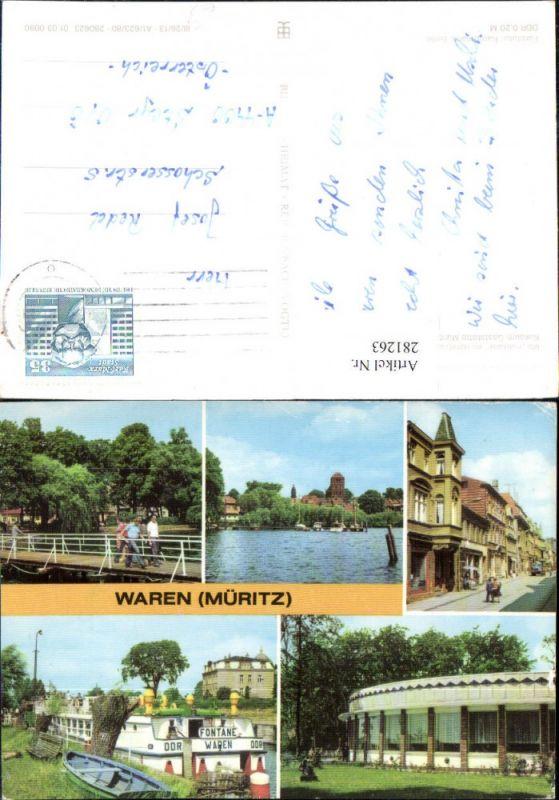 281263,Waren an d. Müritz Kietzbrücke MS Fontane im Hafen Konsum-Gaststätte Mehrbildkarte