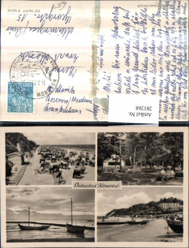 281268,Ostseebad Koserow Strand Strandkörbe Segelboote Mehrbildkarte 0