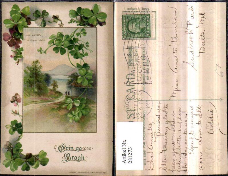 281273,Präge AK Erin go Bragh Killarney The Upper Lake See Passepartout Kleeblätter Klee 0