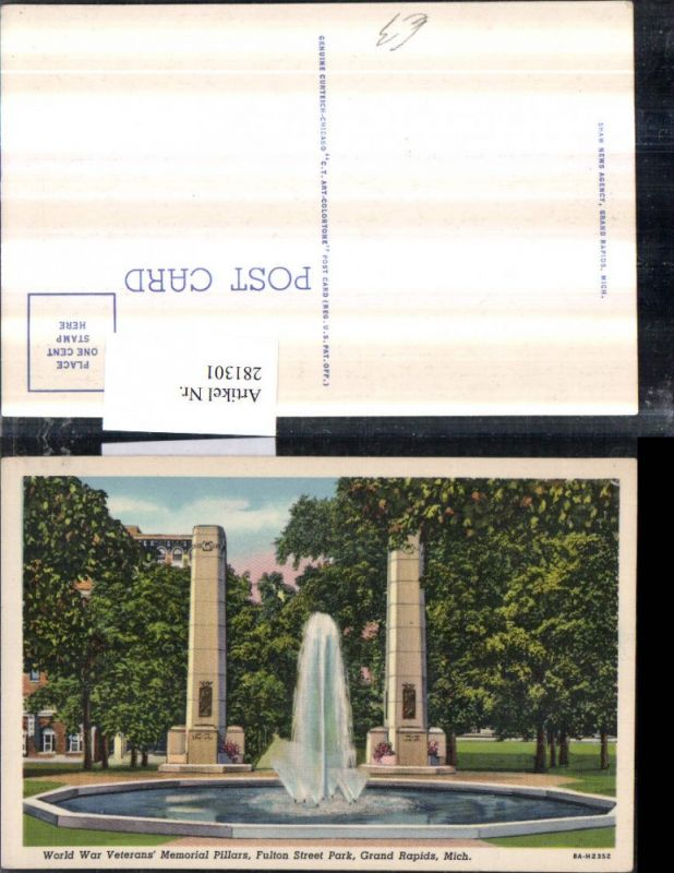 281301,Michigan Grand Rapids Fulton Street Park World war Veterans Memorial Pillars Denkmal