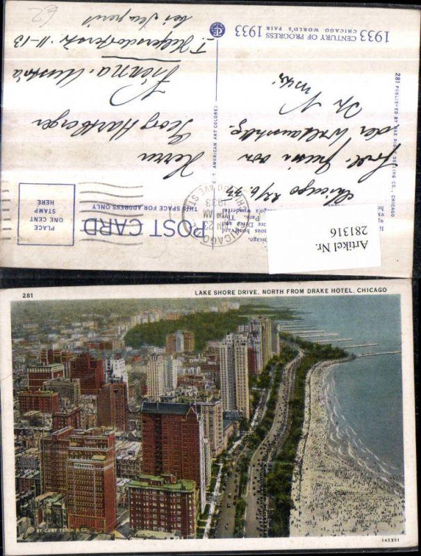 281316,Illinois Chicago Teilansicht Lake shore drive from drake hotel Strand Promenade 0