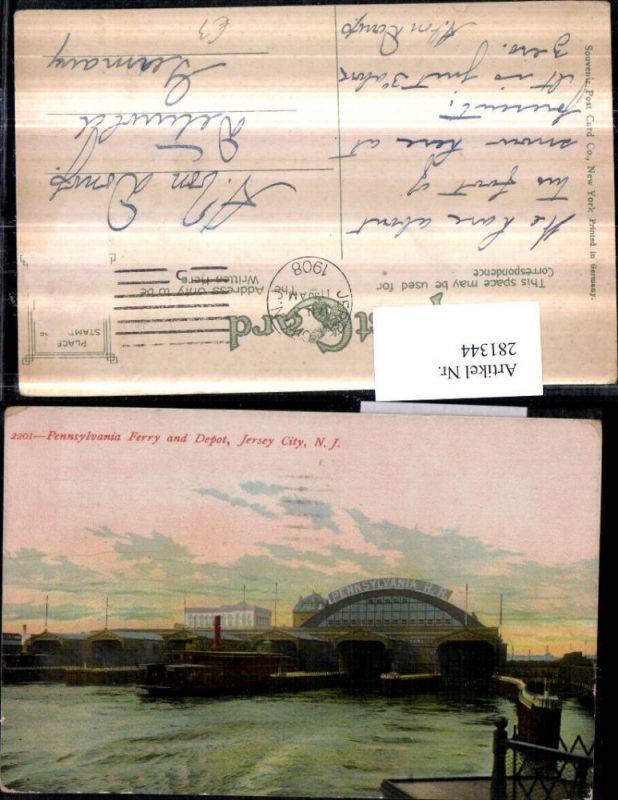 281344,New Jersey City Pennsylvania Ferry and Depot Schiff Dampfer 0