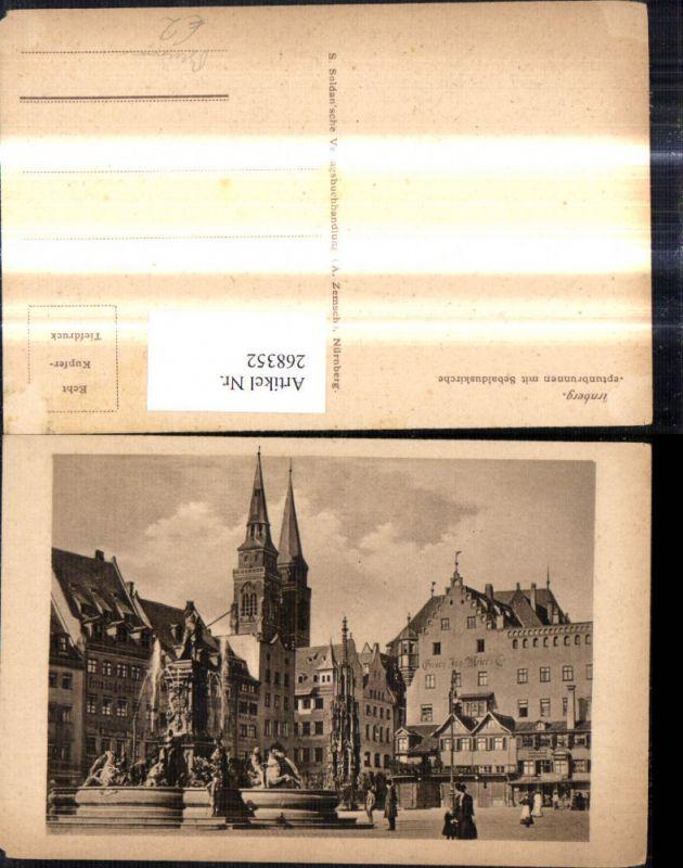268352,Brunnen Nürnberg Neptunbrunnen m. Sebalduskirche Kirche  0