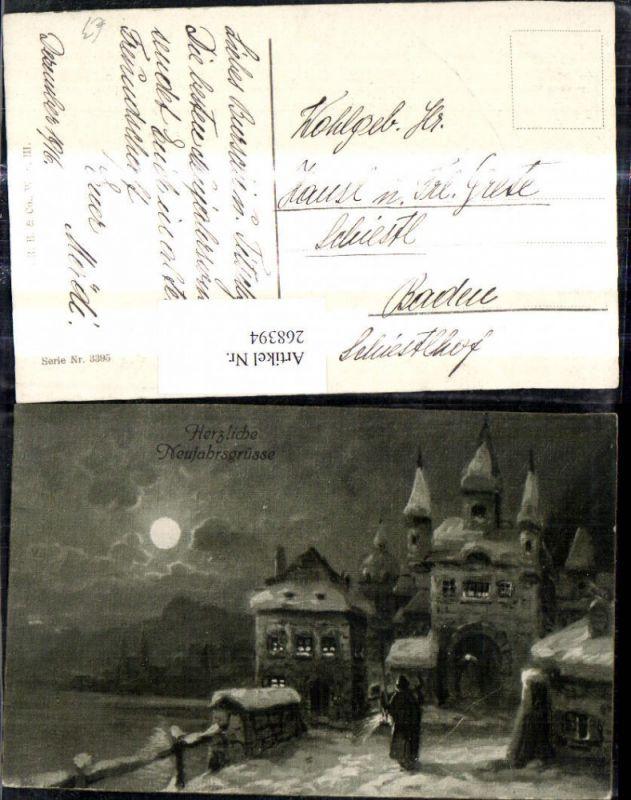 268394,Künstler Ak Schloss b. Mond Mondschein Winteransicht  0