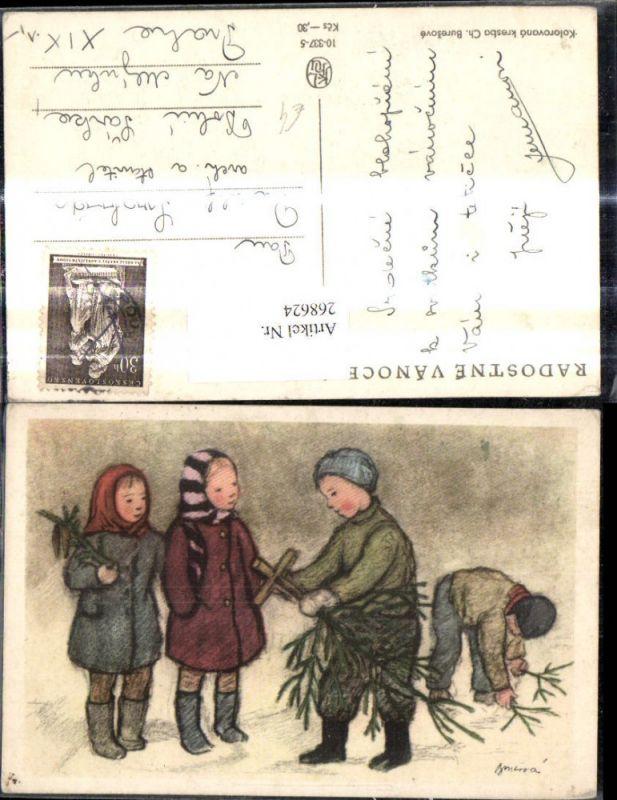 268624,Künstler Ak Ch. Buresove Kinder m. Tannenbaum i. Christbaumkreuz