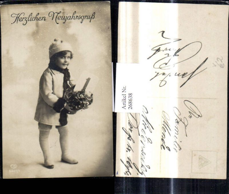 268638,Foto Ak Kinder Kind Haube m. Kalenderblatt 1 Schnee Neujahr pub EAS 5607/1