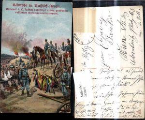 283664,Künstler Ak WW1 Kämpfe i. Russisch Polen General Dankl Russische Kriegsgefangene