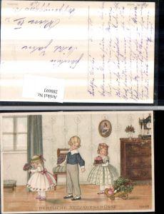 288693,Künstler AK Pauli Ebner Neujahr Kinder Kleid Blumen Kuchen pub Munk Wien 1168