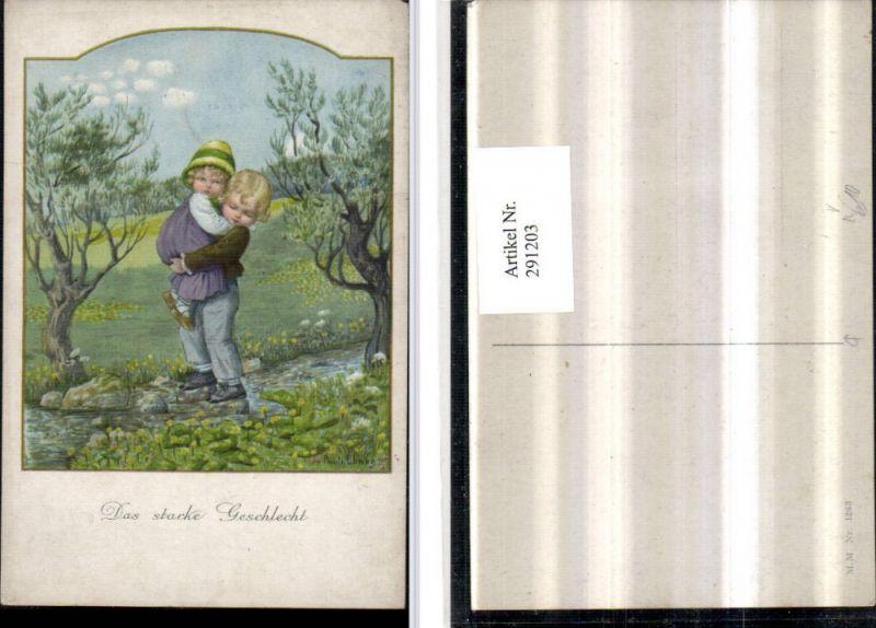 291203,Künstler AK Pauli Ebner Das starke Geschlecht Junge trägt Mädchen über Bach pub M. Munk 1263
