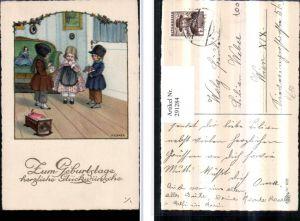 291284,Künstler AK Pauli Ebner Geburtstag Kinder Geschenk Blumen Puppe Wiege pub Erika 1077