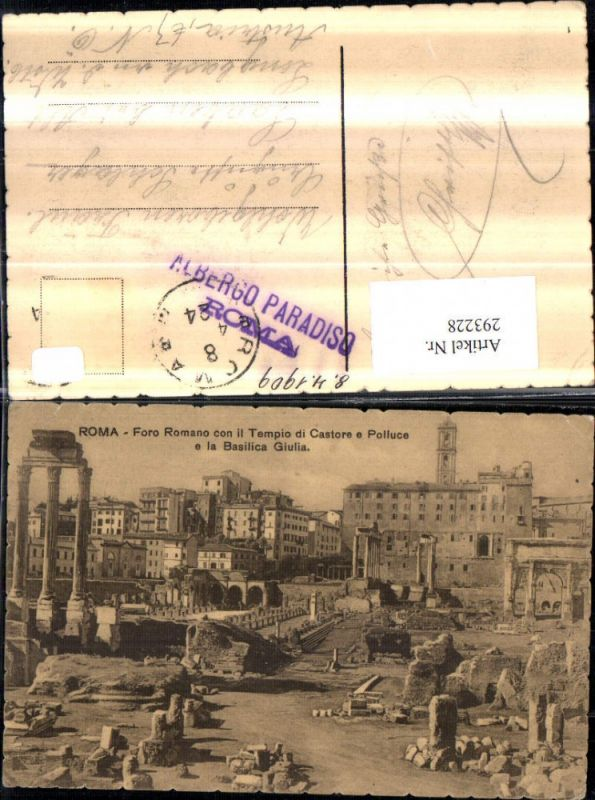 Sammeln & Seltenes Rom Roma Foro Romano Con Tempio Di Castore E Polluce E La Basilica Giulia 1932