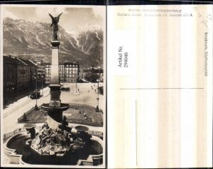 294040,Innsbruck Südtirolerplatz Brunnen Säule Bergkulisse Straßenbahn Nr. 136