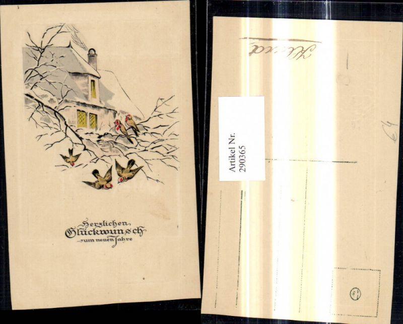 290365,Präge Künstler Ak Neujahr Vögel a. Ast Zweig Baum Haus Winter