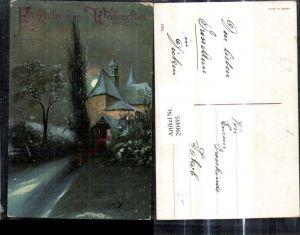 290495,Künstler Ak Weihnachten Kirche Winteransicht b. Nacht Mond