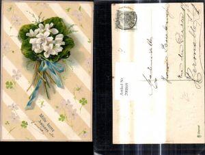 290869,Präge Litho Blumenstrauß Blumen Alpenveilchen Schleife Mille bons baisers