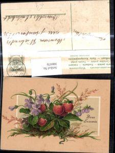 300470,Präge Ak Früchte Erdbeeren Erdbeerpflanze Veilchen Blumen Obst Doux Souvenir Passepartout