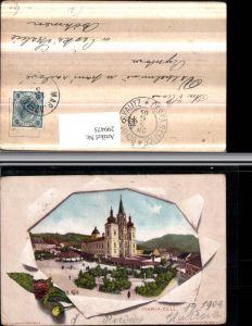 299475,Mariazell Kirche Passepartout zerrissenes Papier Blumen Klee pub Senefelder