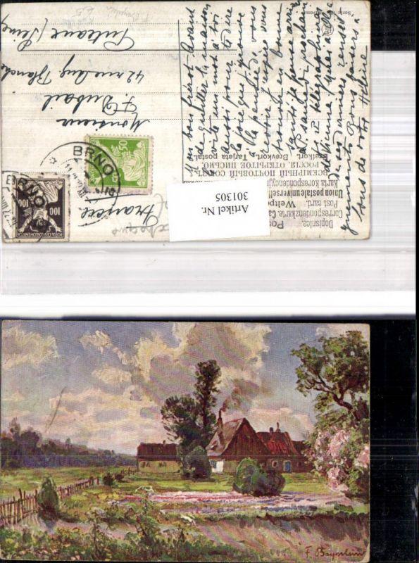 301305,Künstler Ak F. Bayerlein Bauernhaus Haus Garten Landschaft