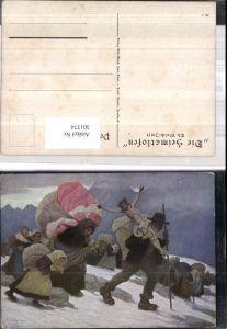 301374,Künstler Ak Th. Walch Imst Die Heimatlosen Familie Kreuz Bergkulisse pub Bine Walch Imst