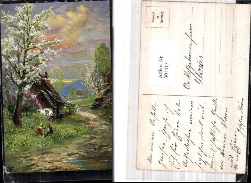 301417,Künstler Ak F. Bayerlein Kinder i. Blumenwiese Haus Landschaft