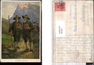 301441,Künstler Ak M. Kuglmayr Auf gegen die Wlschen Männer Tracht Bergkulisse