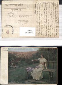301451,Künstler Ak Ed. Niczky Erwartung Frau a. Bank sitzend Landschaft