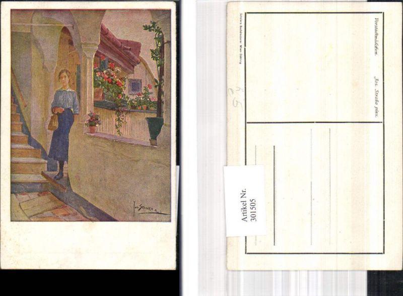 301505,Künstler Ak Josef Straka Vorstadtmädchen Frau Handtasche