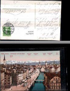 303950,Zürich Teilansicht Limmatquai Brücke Bierhalle Gans m. Alpen Bergkulisse