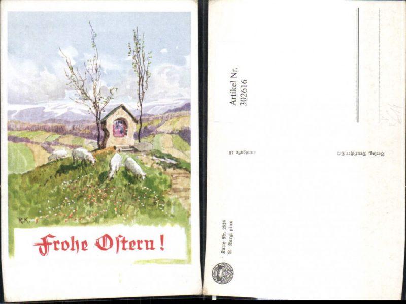 302616,Deutscher Schulverein 2538 Künstler R. Kargl Marterl Kapelle Schafe Landschaft Ostern