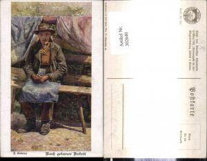 302640,Deutscher Schulverein 958 Künstler F. Kuderna Nach getaner Arbeit Alter Mann a. Bank sitzend