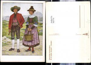 302776,VDA P. 1 R. 41 Nr. 14 Künstler Ak M. E. Fossel Kärnten Lesachtal Ostmärkische Volkstrachten Tracht Paar
