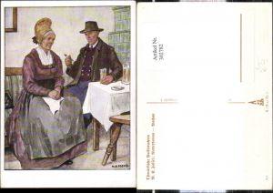 302782,VDA P. 1 R. 41 Nr. 7 Künstler Ak M. E. Fossel Niederdonau Wachau Altes Paar Tracht Stube Pfeife