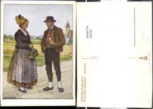 302785,VDA P. 1 R. 41 Nr. 16 M. E. Fossel Oberdonau Innviertel Ried Paar i. Ostmärkischer Volkstracht Trac