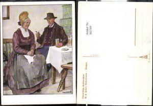 302789,VDA P. 1 R. 41 Nr. 7 Künstler Ak M. E. Fossel Niederdonau Wachau Altes Paar Tracht Stube Pfeife