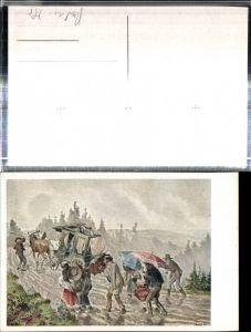 309358,Bund Deutscher Österreicher 46 Künstler Alois Greil Beschwerliche Postfahrt Postkutsche