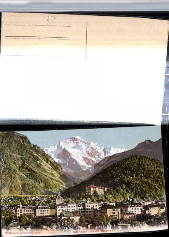 309637,Interlaken Teilansicht m. Jungfrau Bergkulisse Kt Bern