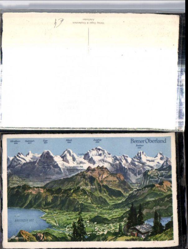 309639,Übersichtskarte Interlaken Totale Grindelwald Wengen Bergkulisse Kt Bern